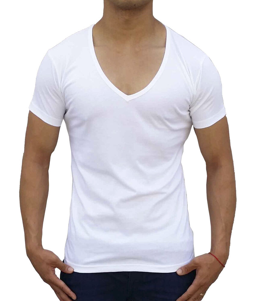 Mens Plain White Deep V Neck T Shirt Slim Fit Fashion