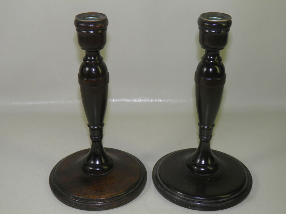 Antique pair turn wood walnut candlesticks candle holders for Wooden candlesticks for crafts