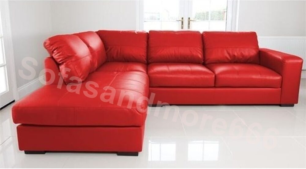 New Westpoint Corner Sofa Faux Leather Red Left Hand Side Fast Delivery Ebay