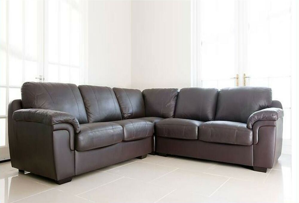 amy corner sofa suite brown real leather pocket sprung. Black Bedroom Furniture Sets. Home Design Ideas