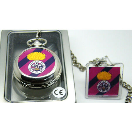 img-THE ROYAL WELCH FUSILIERS BADGE POCKET WATCH FREE KEYRING ARMY MILITARY GIFT BOX