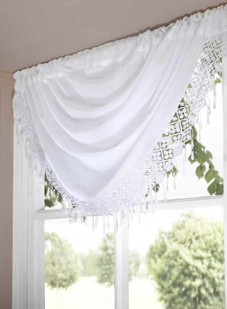 New Daisy Swag Voile Curtain Panel Floral Lace Net Cream Black Red White Ebay