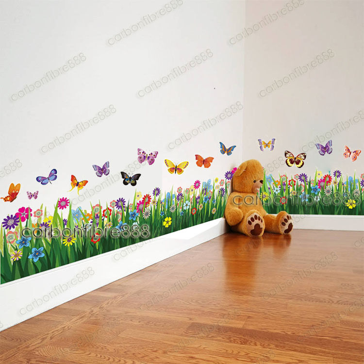 Large colorful butterfly grass wall stickers art decor for Large colorful wall art