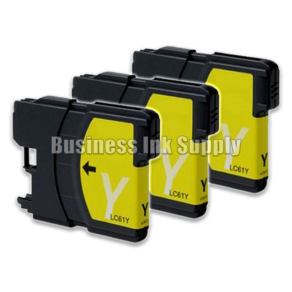 3 YELLOW New LC61 Ink Cartridge For Brother Printer DCP