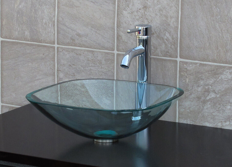 glass bathroom vessel sinks bathroom glass vessel sink clear square chrome faucet 18470