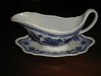 ADAMS BLUE BUTTERFLY GRAVY BOAT WITH FIXED STAND GREAT CONDITION