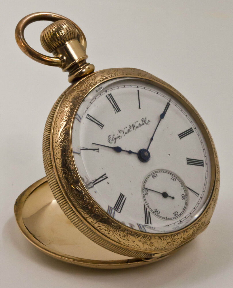 elgin 14k yellow gold overlay triple hinge open face case pocket watch