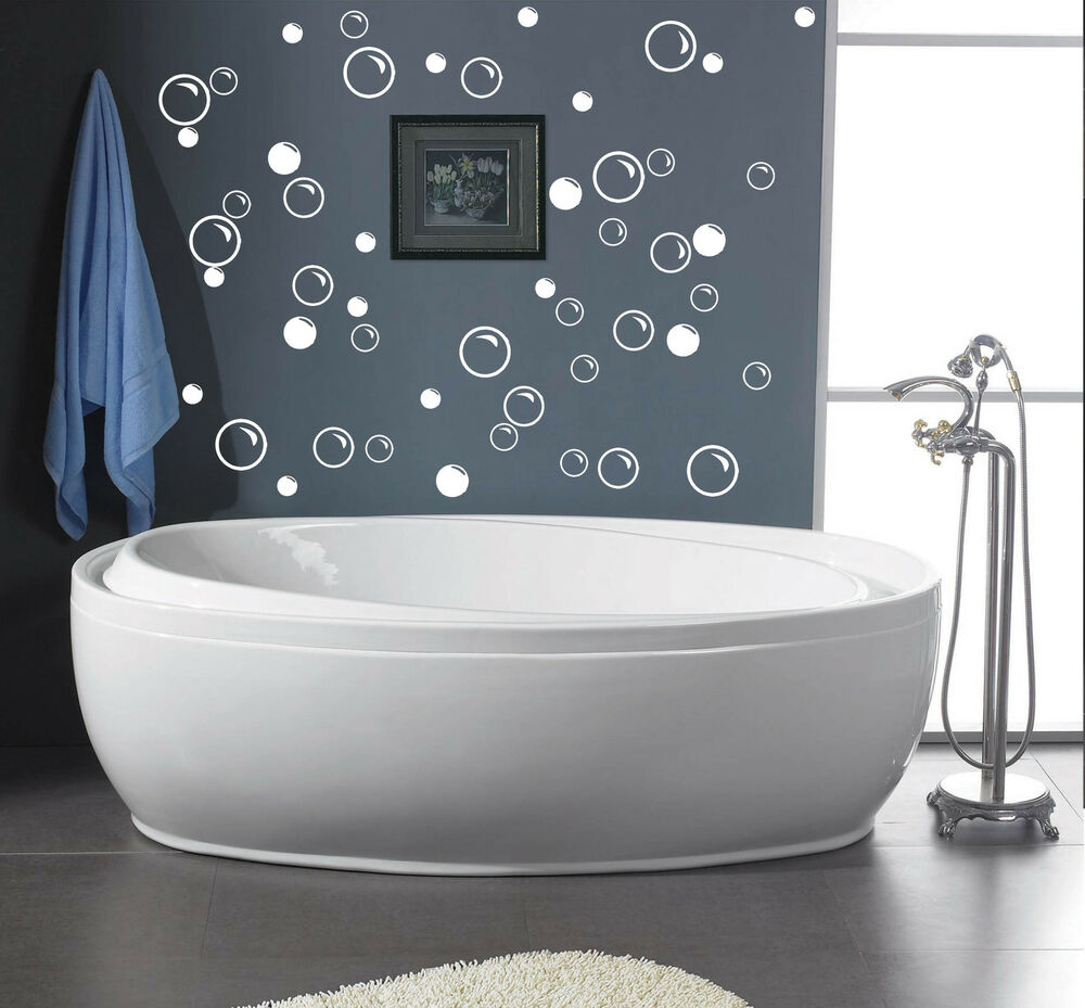 50 Large Soap Bubbles Bathroom Removable Vinyl Wall Decals