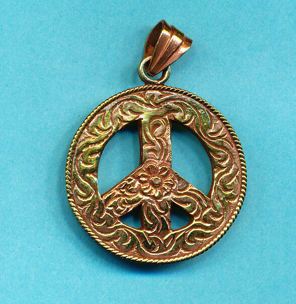 brass peace sign symbol pendant jewelry supplies