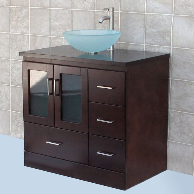 36 bathroom vanity cabinet wood vessel sink faucet mgs ebay for Bathroom cabinets 36