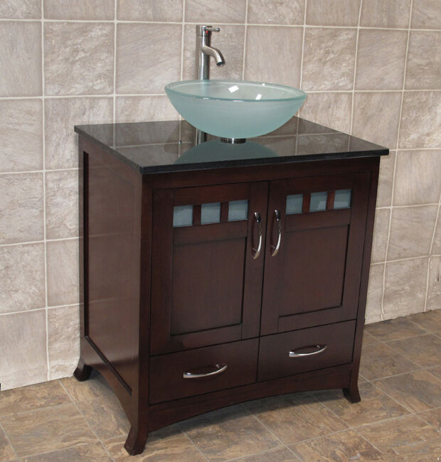 30 Bathroom Vanity Cabinet Black Stone Granite Top Vessel Sink Faucet Tr6 Ebay