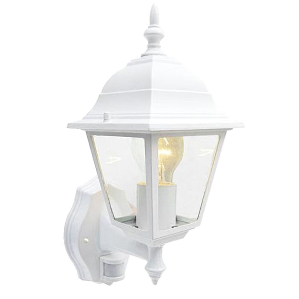 pir sensor security light white coach lantern movement. Black Bedroom Furniture Sets. Home Design Ideas