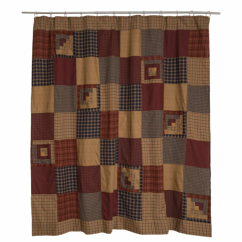 MILLSBORO Shower Curtain Country Red Navy Tan Country Log Cabin Homespun Plai
