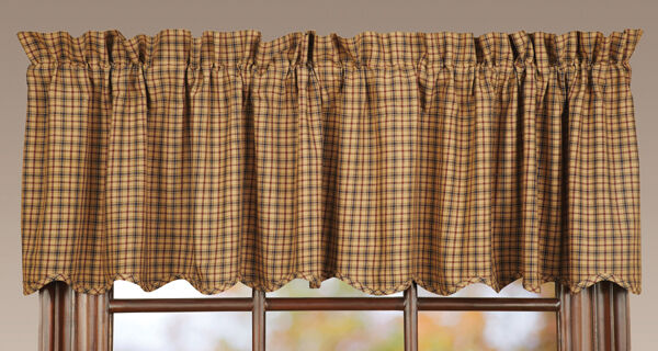 Millsboro Window Lined Valance Primitive Rustic Cabin Navy