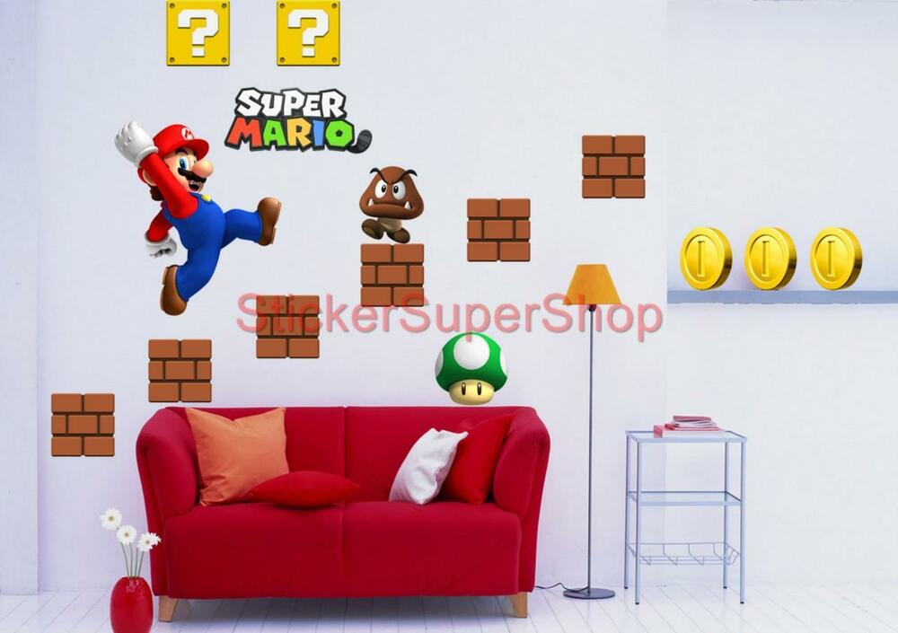Choose size super mario bros decal removable wall sticker vinyl mural set no 2 ebay - Mario wall clings ...