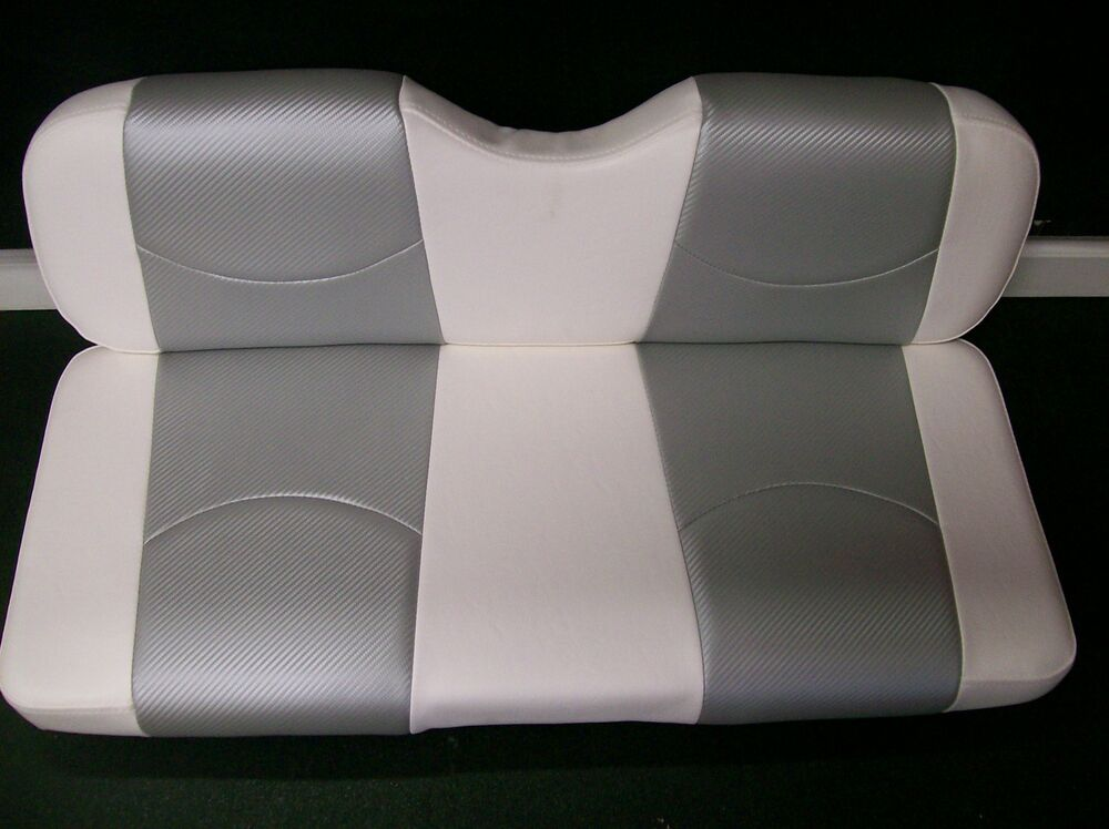 club car ds 39 00 up golf cart front seat replacement seat cover set wht slvr cf ebay. Black Bedroom Furniture Sets. Home Design Ideas