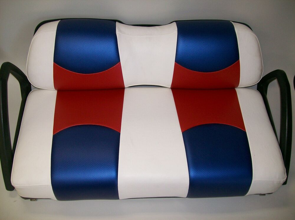 ez go txt golf cart front seat replacement custom seat cover set white 2 clr cf ebay. Black Bedroom Furniture Sets. Home Design Ideas