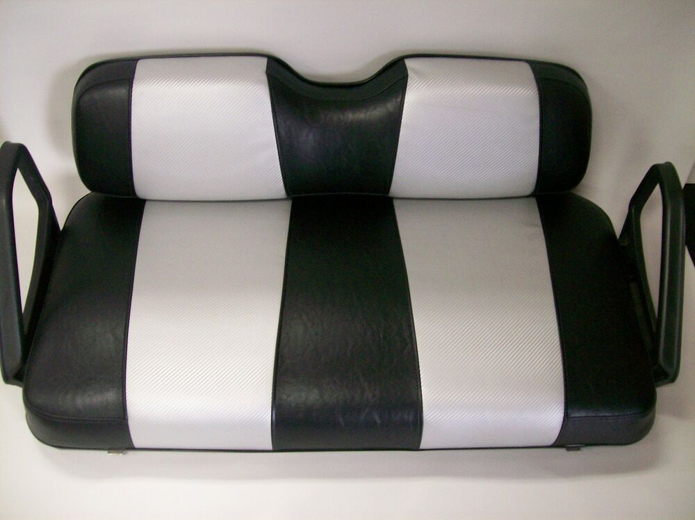 ez go txt golf cart front seat replacement custom covers set black silver cf ebay. Black Bedroom Furniture Sets. Home Design Ideas