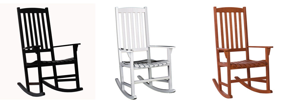 Patio Rocking Chair Rugged 100% Wood Outdoor Rocking Chair Three Colors