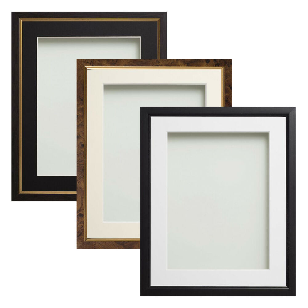 black or walnut effect picture photo frames with choice of mount colours ebay