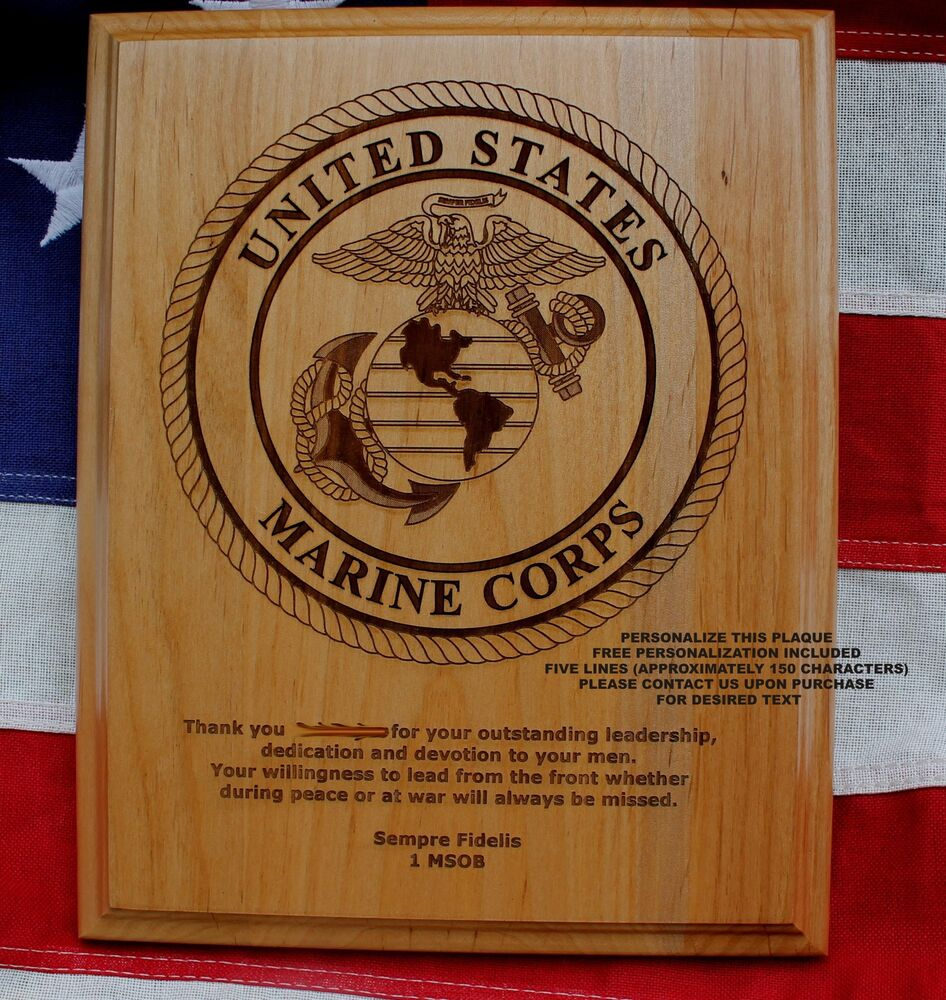 personalized marine corps seal plaque semper fi gift usmc award military gift ebay. Black Bedroom Furniture Sets. Home Design Ideas