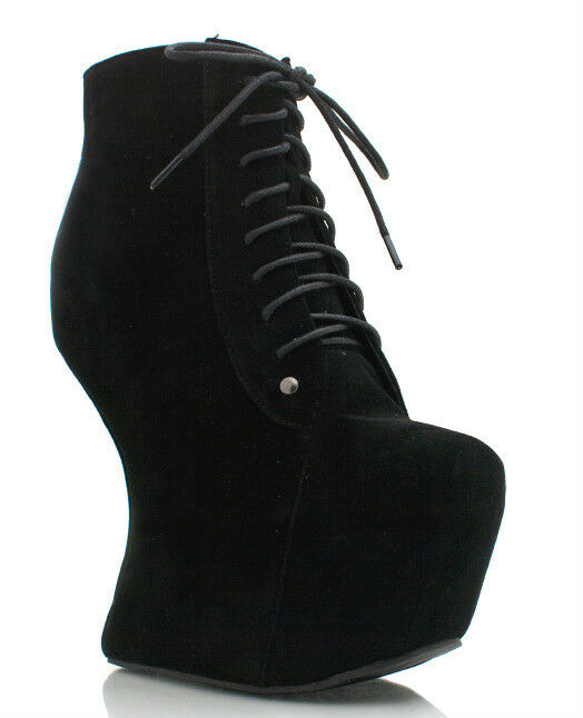 ankle booties heel less lace up fux suede wedges platforms