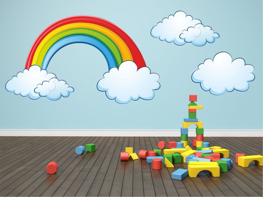 Rainbow Amp Clouds Kids Children Room Wall Sticker Art Vinyl