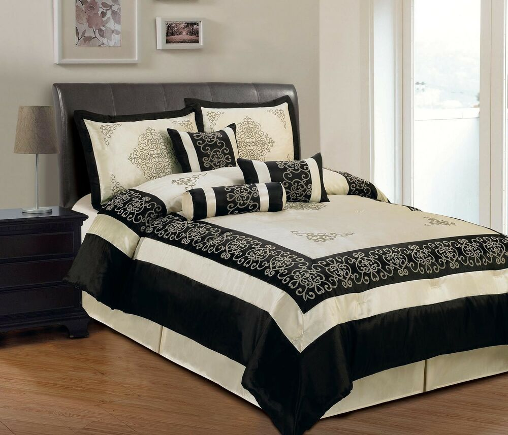 Faux Silk Bedding Embroidered In Beige And Black King