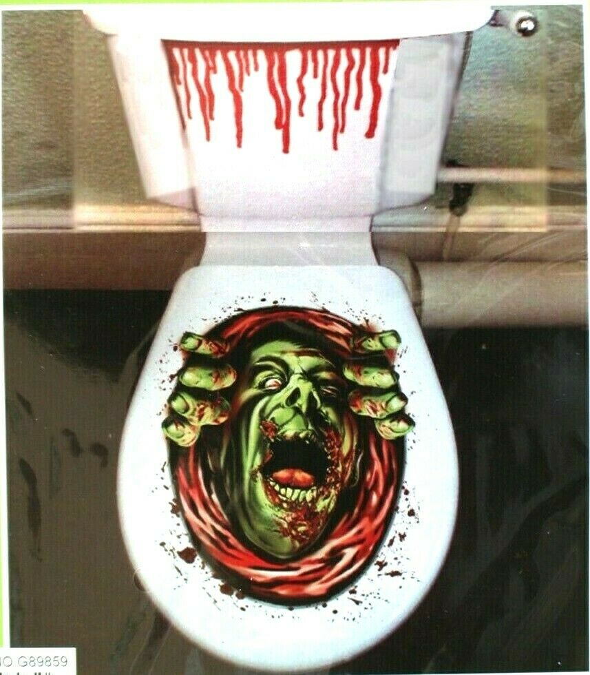 Haunted house blood monster zombie ghoul toilet cover for Decoration toilette