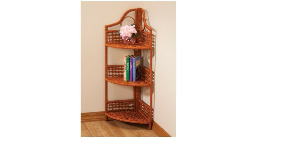 4 Tier Folding Wicker Shelves Handy Extra Storage For