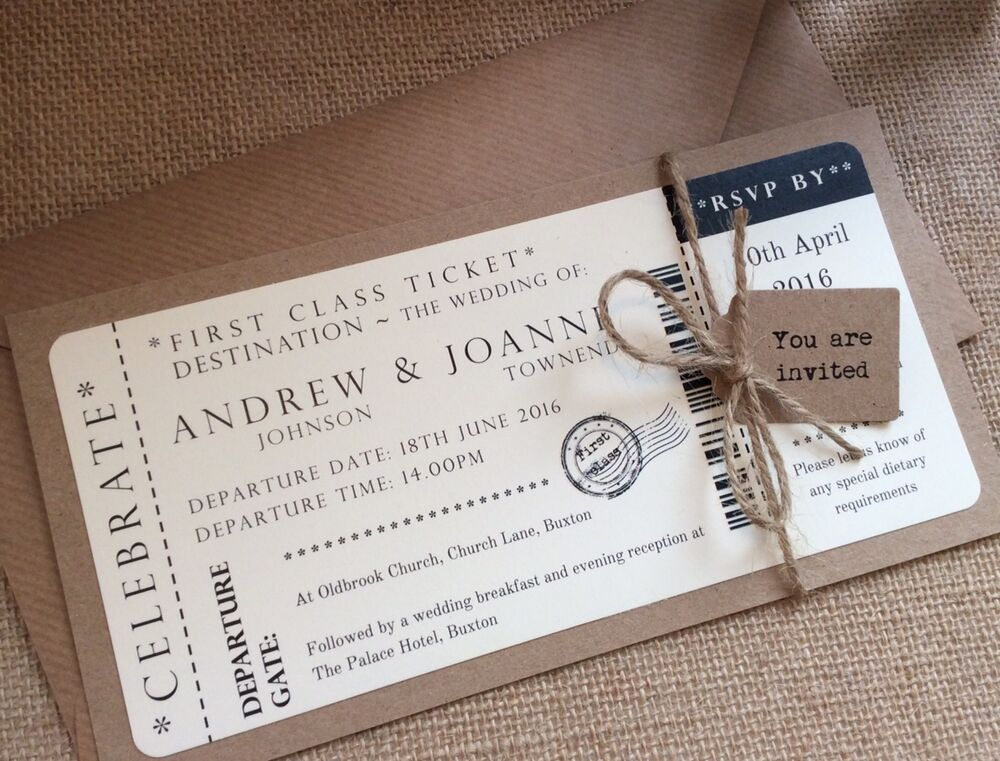 1 Vintage Shabby Chic Style Ticket Wedding Invitation Stationery Sample EBay