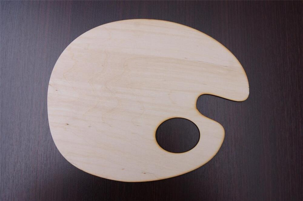 Wooden Artists Painting Palette Kidney Shape Paint Oval
