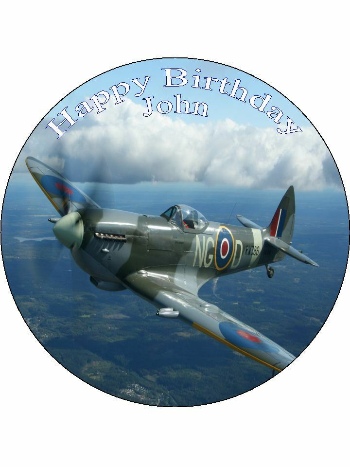 """7.5"""" Spitfire Airplane Personalised Edible PRE CUT ICING ..."""