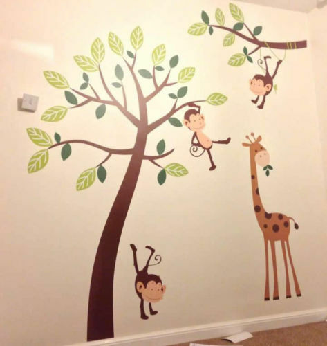 4 Cute Monkeys Wall Decals Sticker Nursery Decor Mural: Monkey Jungle Childrens Nursery Wall Art Stickers, Wall