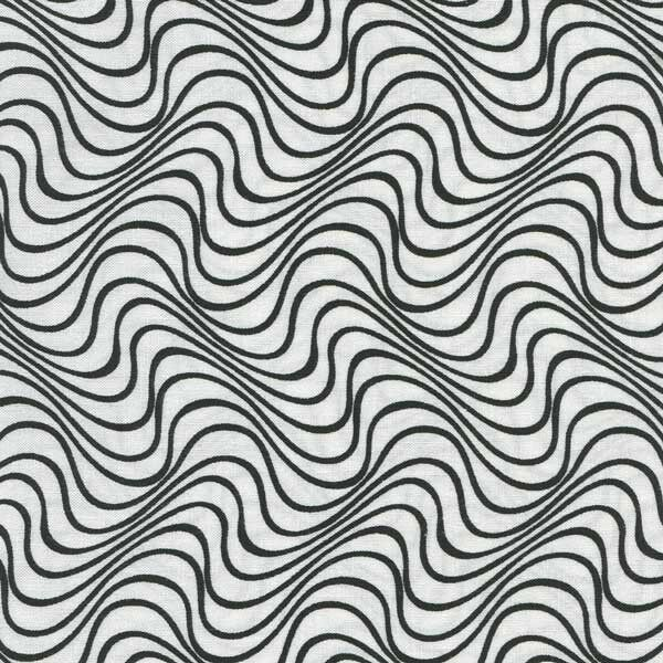 WAVY BLACK LINES ON WHITE BACKGROUND Cotton Fabric BTY for ...