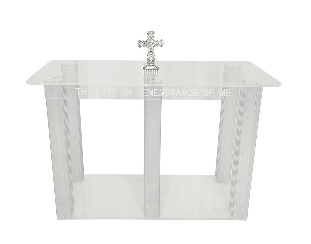 clear acrylic plexiglass church communion table desk 11461 glue version ebay. Black Bedroom Furniture Sets. Home Design Ideas