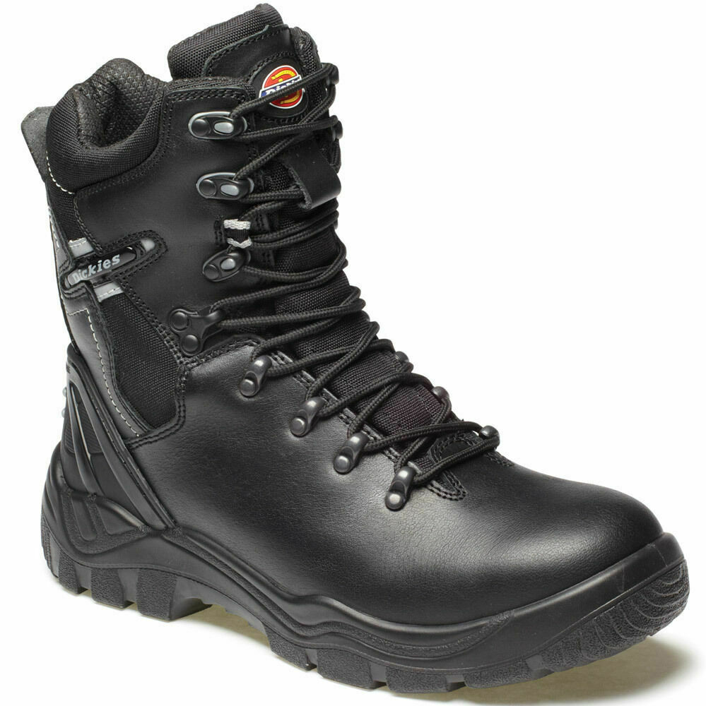 Mens Dickies Quebec Lined Safety Work Boots Black Side Zip