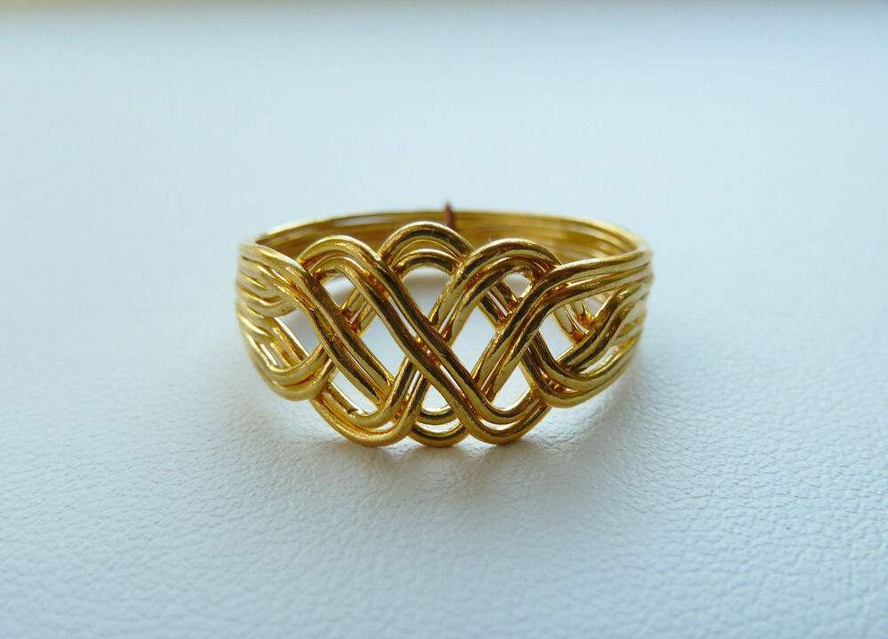 8 Band Puzzle Ring Scroll Knot Chain Design 14k Gold