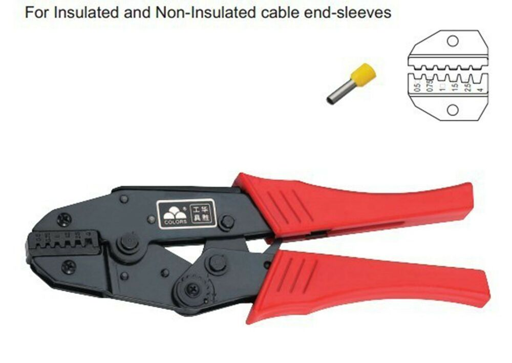 insulated and non insulated ferrules ratchet plier crimper 0 5 awg 20 12 ebay. Black Bedroom Furniture Sets. Home Design Ideas