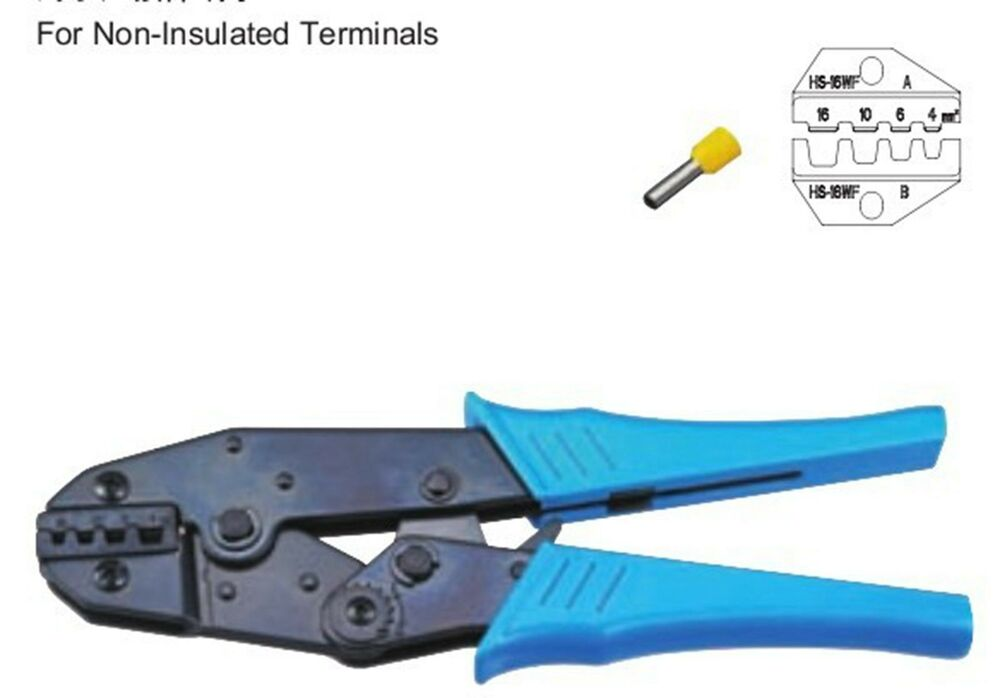 non insulated terminals ratchet crimping tool plier crimper 4 16mm2 awg16 8 ebay. Black Bedroom Furniture Sets. Home Design Ideas