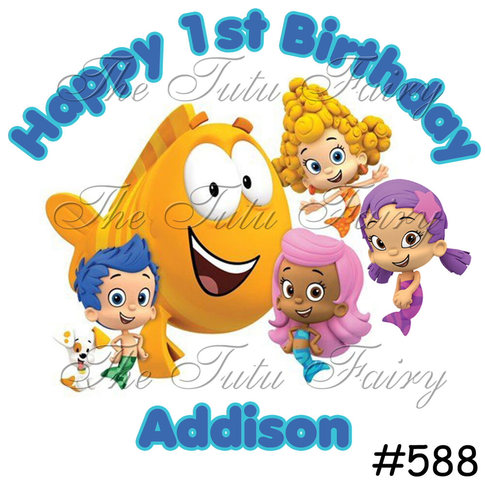 Personalised Boys First Birthday Card Bubbles By August: Bubble Guppies Birthday Shirt Personalized Name Age Boy