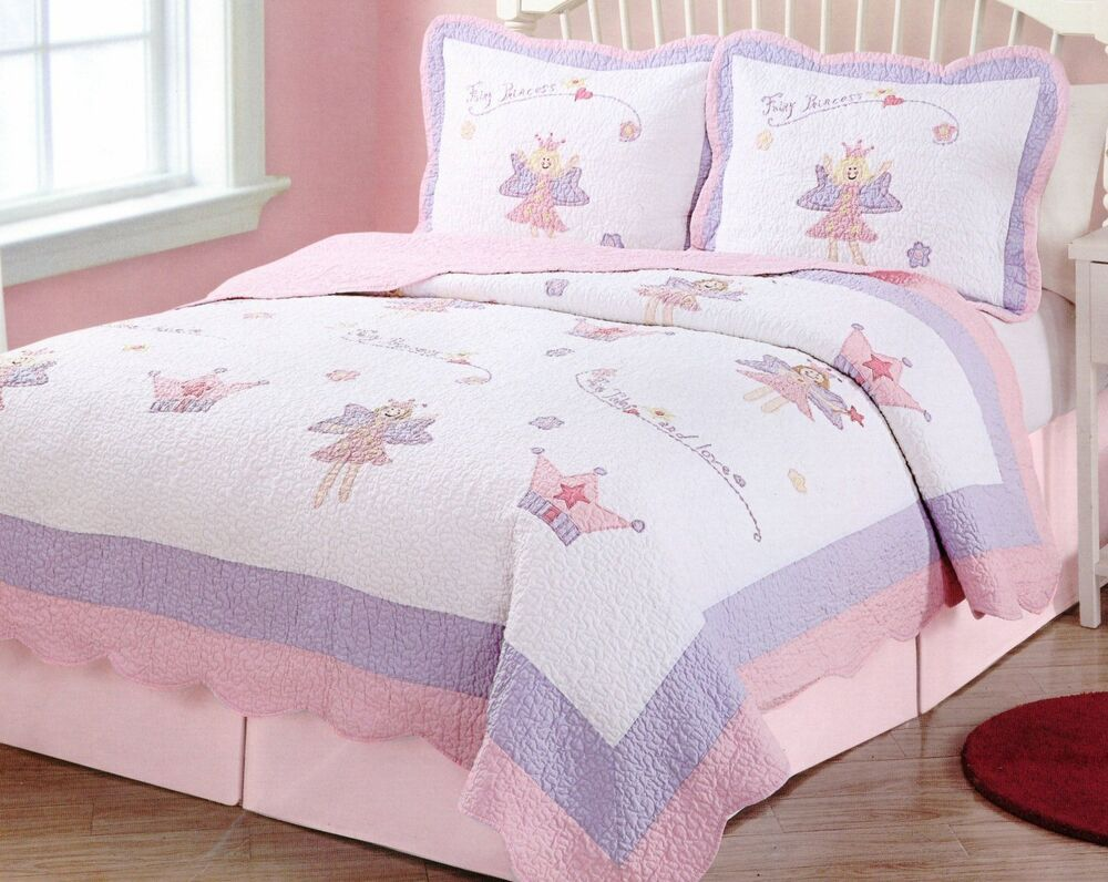 Girls Pink Purple Fairy Princess Garden Full Queen Quilt 2