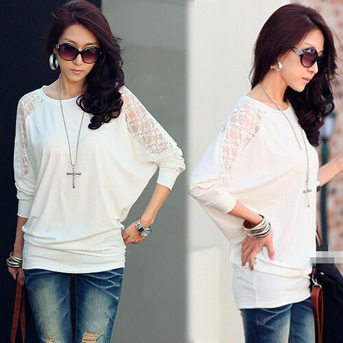 Stylish womens solids white t shirt batty sleeve splicing for White t shirts that aren t see through