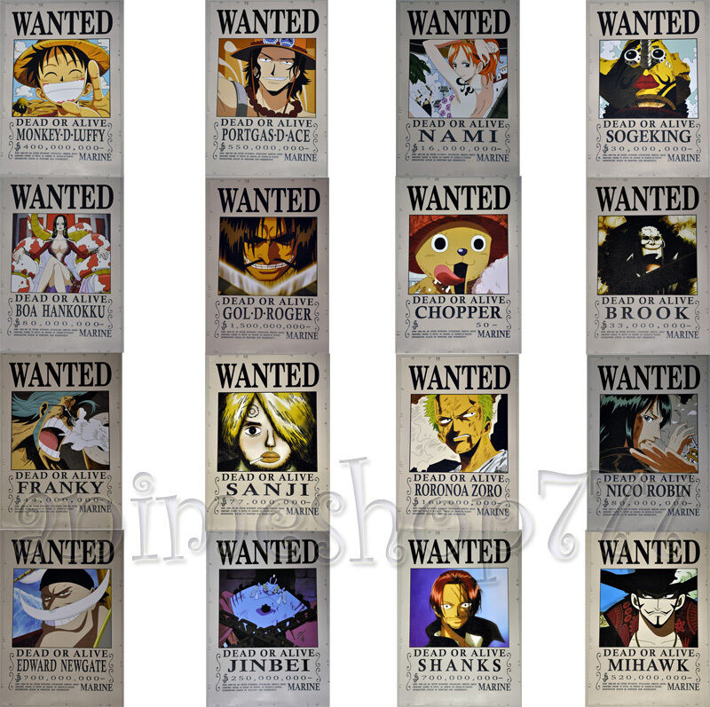 "16.5""x11.4"" One Piece Wanted Poster Cosplay Luffy Shanks"