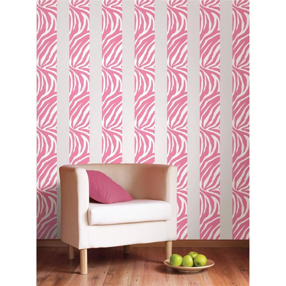 Pink zebra print 16 39 removable vinyl sticker wall border for Room decor zebra print