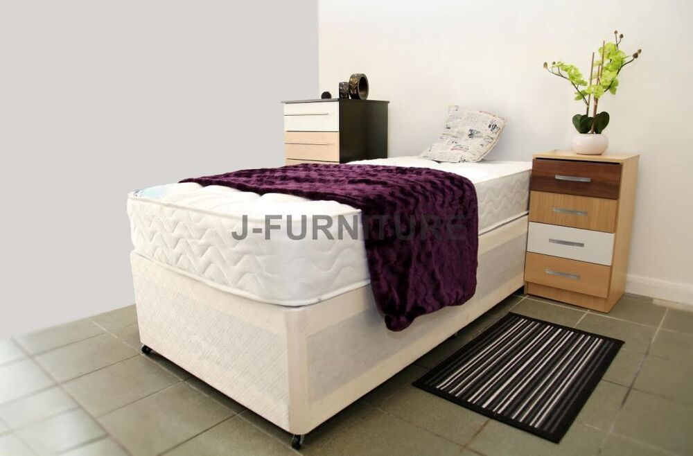 Single bed with mattress 3ft divan bed deep quilt mattress for Cheap single divan with drawers