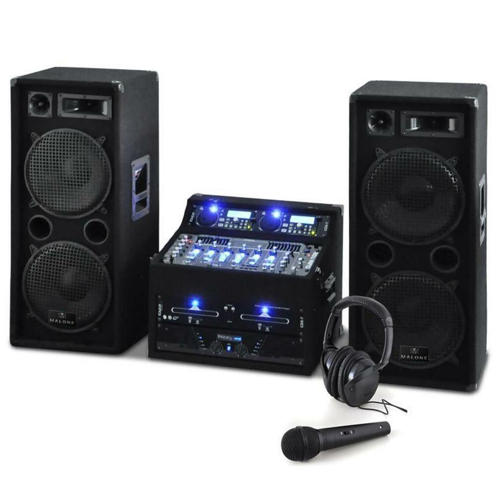 sono enceinte dj avec double lecteur cd usb ampli pa mixer 4 canaux 2000w noir ebay. Black Bedroom Furniture Sets. Home Design Ideas
