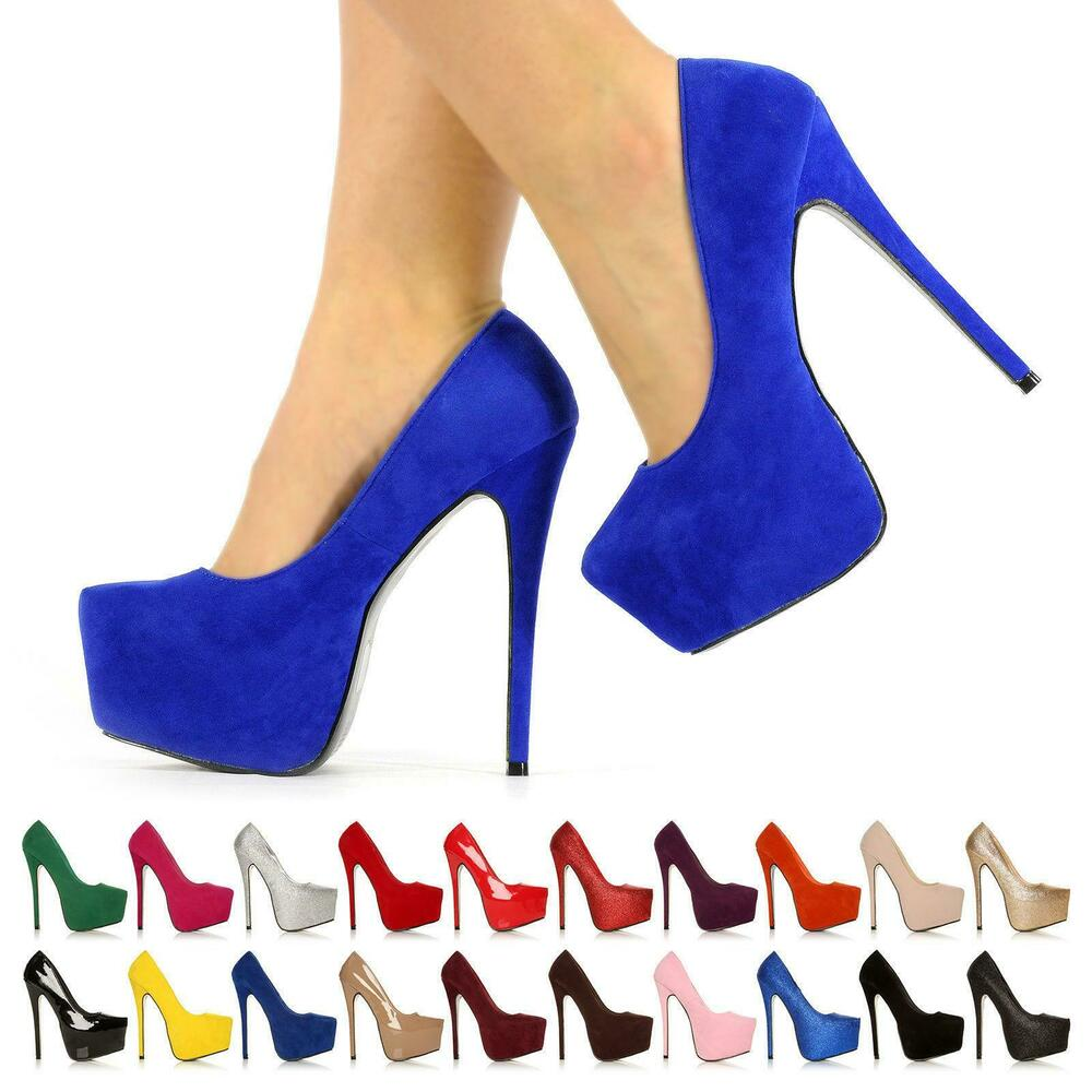 adcee583655 Details about NEW WOMENS PARTY PLATFORM PUMPS KILLER HIGH HEELS STILETTO  COURT SHOES SIZE 3-8