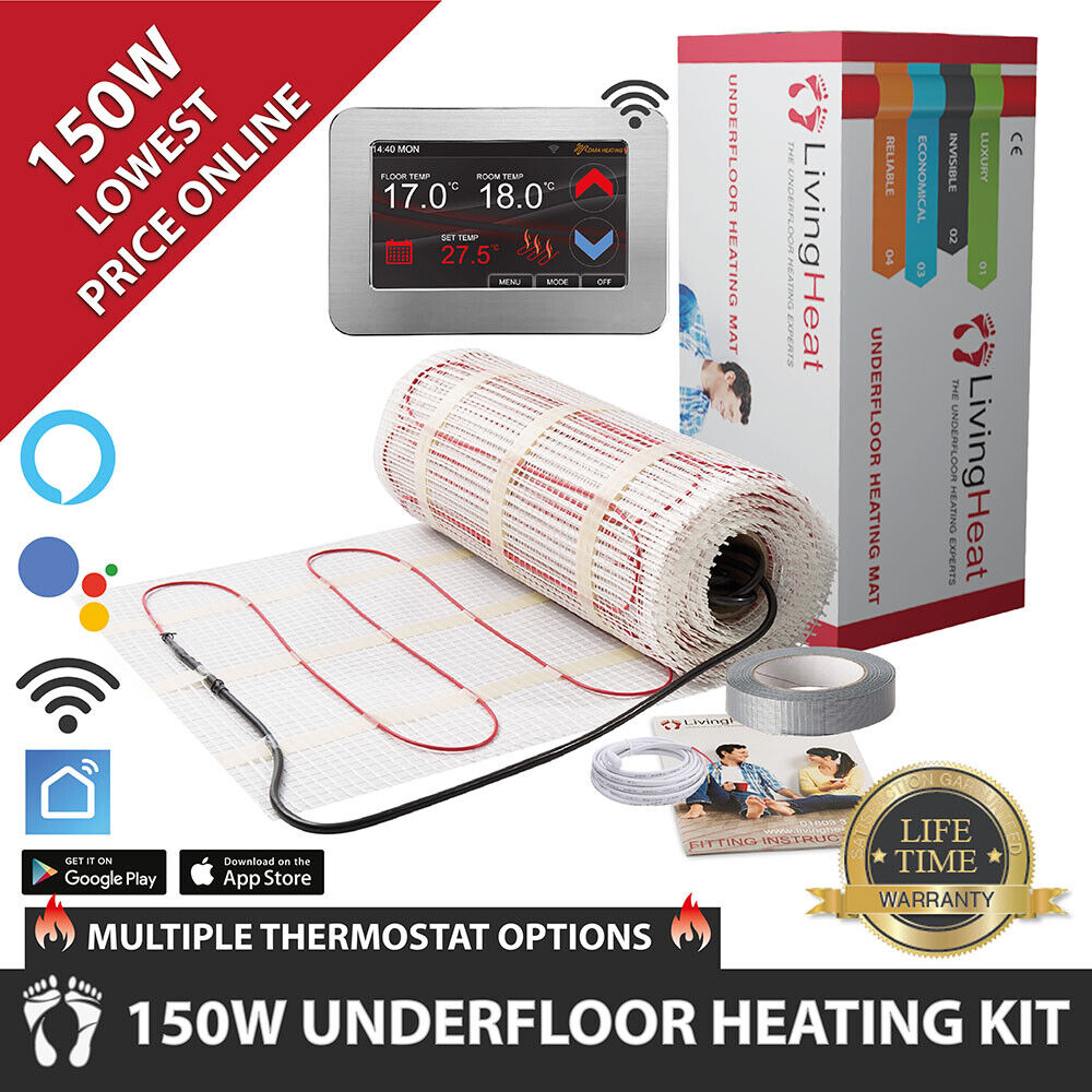 Underfloor Heating Mats 150w With Thermostat Option For