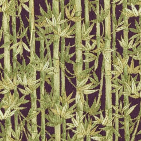 Imperial Green Bamboo On Purple Cotton Fabric Bty For